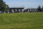 An area that is normally filled with campers sits empty outside of the Indianapolis Motor Speedway, Thursday, Aug. 20, 2020, in Indianapolis. (AP Photo/Darron Cummings)