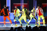 FILE - This April 25, 2019 file photo shows CNCO performing at the Billboard Latin Music Awards in Las Vegas on April 25, 2019. The band will perform at the 2020 MTV Video Music Awards on Aug. 30. (Photo by Eric Jamison/Invision/AP, File)
