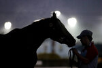 A horse gets a bath after an early-morning workout at Churchill Downs Thursday, May 2, 2019, in Louisville, Ky. The 145th running of the Kentucky Derby is scheduled for Saturday, May 4. (AP Photo/Charlie Riedel)