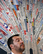 Italian Interior Minister and Deputy-Premier, Matteo Salvini, attends a press conference at the foreign press association in Milan, Italy, Friday, May 17, 2019. (AP Photo/Antonio Calanni)