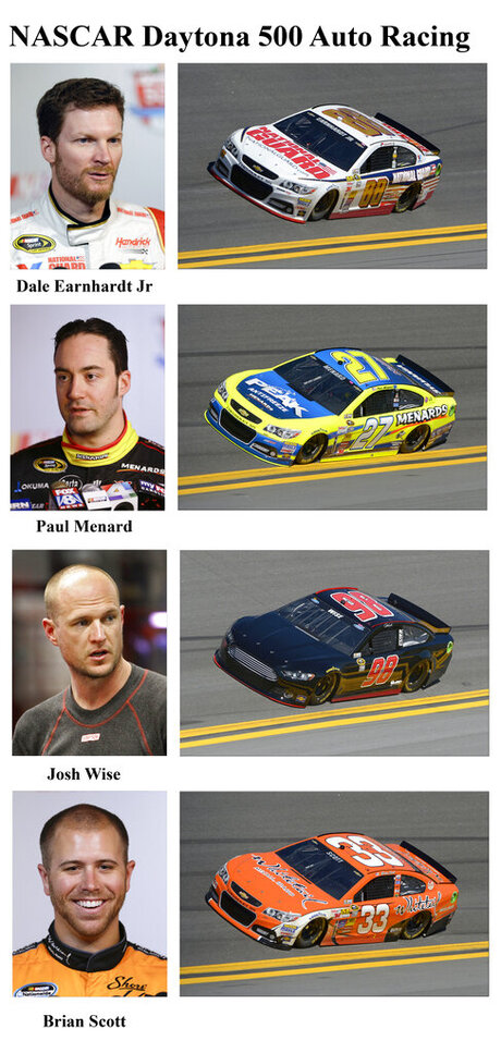 Dale Earnhardt Jr, Paul Menard, Josh Wise, Brian Scott
