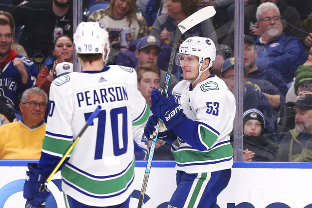 Vancouver Canucks forward Bo Horvat (53) celebrates his goal with teammate forward Tanner Pearson (70) during the second period of an NHL hockey game against the Buffalo Sabres, Saturday, Jan. 11, 2020, in Buffalo, N.Y. (AP Photo/Jeffrey T. Barnes)