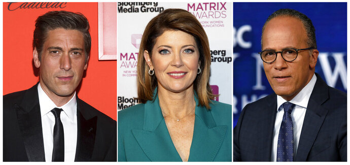 This combination photo shows, from left, David Muir at the Time 100 Gala on April 23, 2019, in New York, Norah O'Donnell at the Matrix Awards on May 6, 2019, in New York and Lester Holt posing for a photo on July 31, 2019 in New York. Broadcast networks might want to consider promoting newscasters David Muir, Lester Holt and Norah O'Donnell to prime time, at least for the summer. The Nielsen company said that the ABC and NBC evening newscasts led by Muir and Holt both averaged more viewers last week than anything in prime time. O'Donnell at CBS wasn't that far behind. (AP Photo)