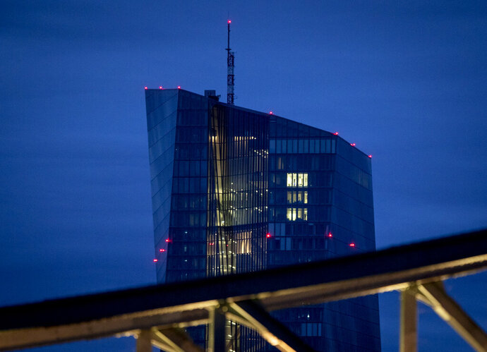 The European Central Bank is seen in Frankfurt, Germany, Thursday, Sept. 10, 2020. The governing council of the ECB will meet on Thursday. (AP Photo/Michael Probst)