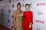 Simone Missick and Ruthie Ann Miles attend the 11th Annual AAFCA Awards at the Taglyan Complex on Wednesday, Jan. 22, 2020, in Los Angeles. (Photo by Mark Von Holden /Invision/AP)