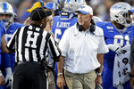 Middle Tennessee head coach Rick Stockstill talks with an official in the first half of an NCAA college football game Saturday, Sept. 7, 2019, in Murfreesboro, Tenn. (AP Photo/Mark Humphrey)