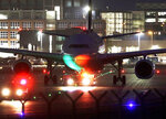 A Lufthansa aircraft rolls to a parking position at the airport in Frankfurt, Germany, Thursday, Nov. 7, 2019. The flight attendants' union Ufo is on strike at Lufthansa for 48 hours. (AP Photo/Michael Probst)