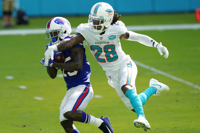 Buffalo Bills wide receiver John Brown (15) catches a pass for a touchdown as Miami Dolphins strong safety Bobby McCain (28)defends, bduring the second half of an NFL football game, Sunday, Sept. 20, 2020, in Miami Gardens, Fla. The Bills defeated the Dolphins 31-28. (AP Photo/Lynne Sladky)