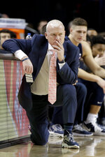 Penn State coach Patrick Chambers follows the first half of an NCAA college basketball game against Nebraska in Lincoln, Neb., Saturday, Feb. 1, 2020. (AP Photo/Nati Harnik)