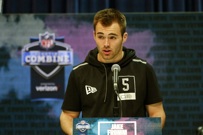 "FILE - In this Feb. 25, 2020, file photo, Georgia quarterback Jake Fromm speaks during a press conference at the NFL football scouting combine in Indianapolis. Buffalo Bills rookie quarterback Jake Fromm apologized for using the phrase ""elite white people"" in a text conversation from more than a year ago, and posted on social media early Thursday morning, June 4, 2020. The former Georgia starter posted his apology on his Twitter account, in which he wrote: ""I'm truly sorry for my words and actions and humbly ask for forgiveness."" (AP Photo/Michael Conroy, File)"