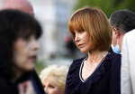Actress Stefanie Powers attends the unveiling of a memorial sculpture of the late actor Burt Reynolds at Hollywood Forever Cemetery, Monday, Sept. 20, 2021, in Los Angeles. Reynolds died in 2018 at the age of 82. (AP Photo/Chris Pizzello)