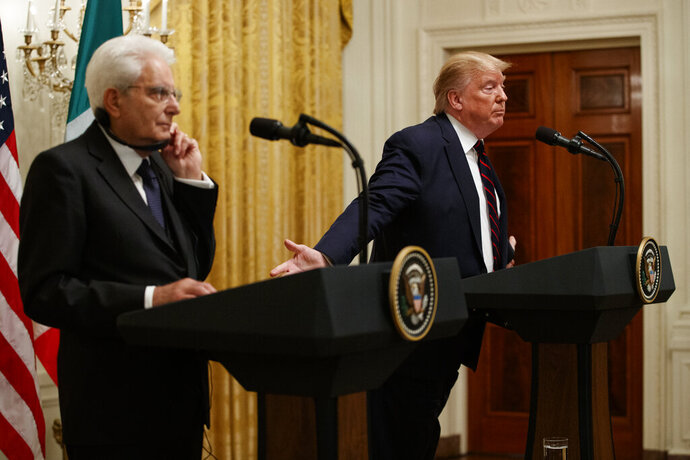 President Donald Trump speaks during a news conference with Italian President Sergio Mattarella in the East Room of the White House, Tuesday, Oct. 16, 2019, in Washington. (AP Photo/Evan Vucci)