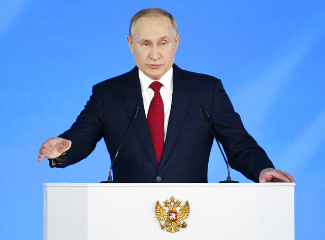 Russian President Vladimir Putin addresses the State Council in Moscow, Russia, Wednesday, Jan. 15, 2020. (AP Photo/Alexander Zemlianichenko )