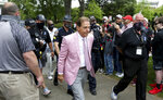 Alabama head coach Nick Saban arrives for the Crimson Tide's spring NCAA college football game at Bryant-Denny Stadium, Saturday, April 17, 2021, in Tuscaloosa, Ala. (Gary Cosby/The Tuscaloosa News via AP)
