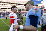 Kansas City Chiefs quarterback Patrick Mahomes (15) congratulates Tennessee Titans quarterback Ryan Tannehill (17) after an NFL football game Sunday, Nov. 10, 2019, in Nashville, Tenn. The Titans won 35-32. (AP Photo/Mark Zaleski)