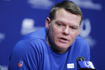 FILE - In this Jan. 2, 2020, file photo, Indianapolis Colts general manager Chris Ballard speaks during a news conference at the team's NFL football training facility in Indianapolis. The 2020 NFL Draft is April 23-25. (AP Photo/Darron Cummings, File)