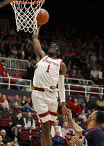 Stanford's Daejon Davis lays up a shot against Arizona during the first half of an NCAA college basketball game Saturday, Feb. 15, 2020, in Stanford, Calif. (AP Photo/Ben Margot)