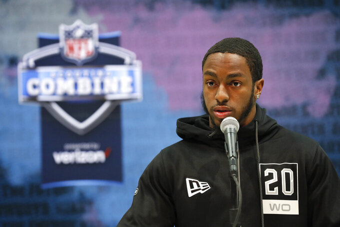 Penn State wide receiver K.J. Hamler speaks during a press conference at the NFL football scouting combine in Indianapolis, Tuesday, Feb. 25, 2020. (AP Photo/Charlie Neibergall)