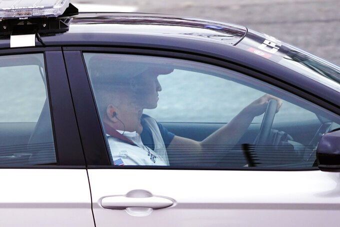 New England Patriots wide receiver Gunner Olszewski drives the pace car prior before the NASCAR Cup Series auto race Sunday, July 18, 2021, in Loudon, N.H. (AP Photo/Charles Krupa)