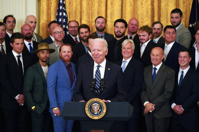 President Joe Biden speaks during an event to honor the 2020 World Series champion Los Angeles Dodgers baseball team at the White House, Friday, July 2, 2021, in Washington. (AP Photo/Julio Cortez)