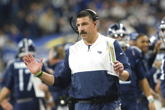 Tennessee Titans head coach Mike Vrabel gestures on the sideline during the first half of an NFL football game against the Indianapolis Colts in Indianapolis, Sunday, Dec. 1, 2019. (AP Photo/AJ Mast)