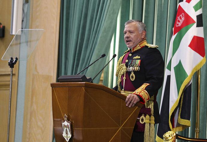 Jordan's King Abdullah II, speaks to Parliament in Amman, Jordan, Sunday, Nov. 10, 2019. The king announced