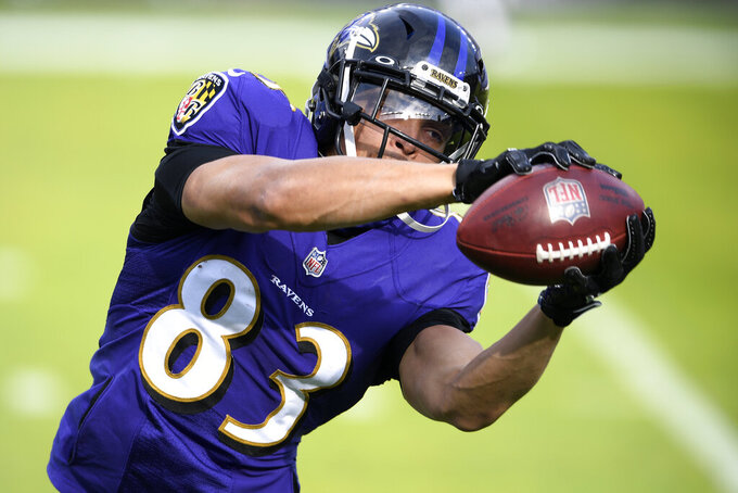 Baltimore Ravens wide receiver Willie Snead IV works out prior to an NFL football game against the Jacksonville Jaguars, Sunday, Dec. 20, 2020, in Baltimore. (AP Photo/Nick Wass)