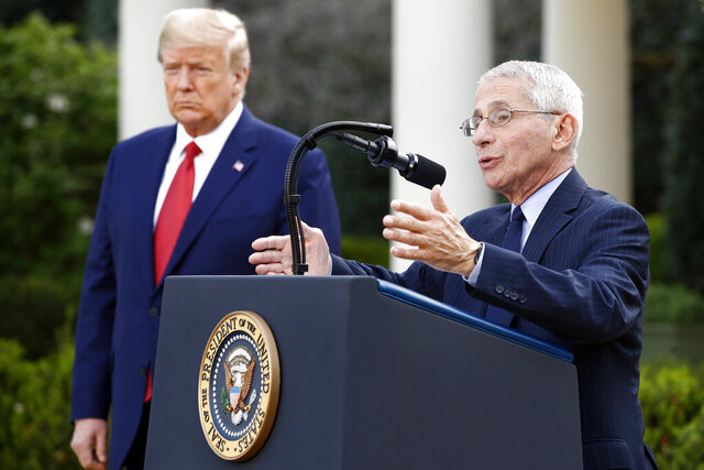 President Donald Trump listens as Dr. Anthony Fauci, director of the National Institute of Allergy and Infectious Diseases, speaks during a coronavirus task force briefing in the Rose Garden of the White House, Sunday, March 29, 2020, in Washington. (AP Photo/Patrick Semansky)