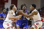 Louisiana Tech's Amorie Archibald (3) goes to the basket against Indiana's Race Thompson, left, and Armaan Franklin during the second half of an NCAA college basketball game, Monday, Nov. 25, 2019, in Bloomington, Ind. Indiana won 88-75. (AP Photo/Darron Cummings)