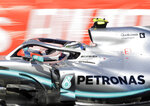 Mercedes driver Valtteri Bottas of Finland steers his car during the Formula One Grand Prix at the Baku Formula One city circuit in Baku, Azerbaijan, Sunday, April 28, 2019. (AP Photo/Sergei Grits)