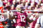 Florida State quarterback Deondre Francois throws in the first half of an NCAA college football game against Clemson in Tallahassee, Fla., Saturday, Oct. 27, 2018. Clemson defeated Florida State 59-10. (AP Photo/Mark Wallheiser)