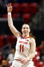 Maryland guard Taylor Mikesell gestures after making a 3-pointer in the second half of first-round game against Radford in the NCAA women's college basketball tournament, Saturday, March 23, 2019, in College Park, Md. Maryland won 73-51. (AP Photo/Patrick Semansky)