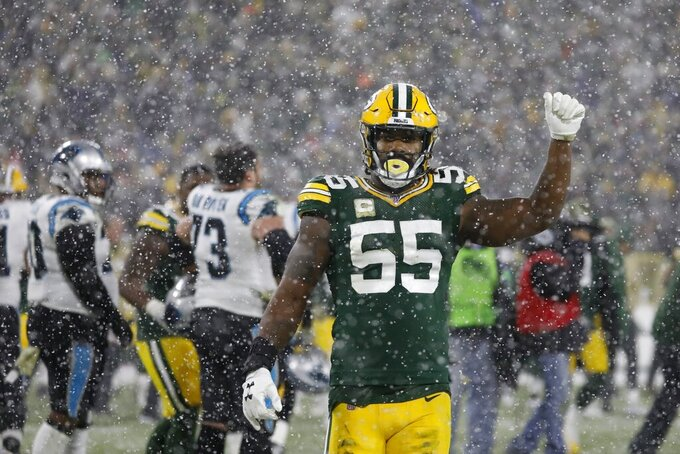 Green Bay Packers' Za'Darius Smith reacts after an NFL football game against the Carolina Panthers Sunday, Nov. 10, 2019, in Green Bay, Wis. The Packers won 24-16. (AP Photo/Jeffrey Phelps)