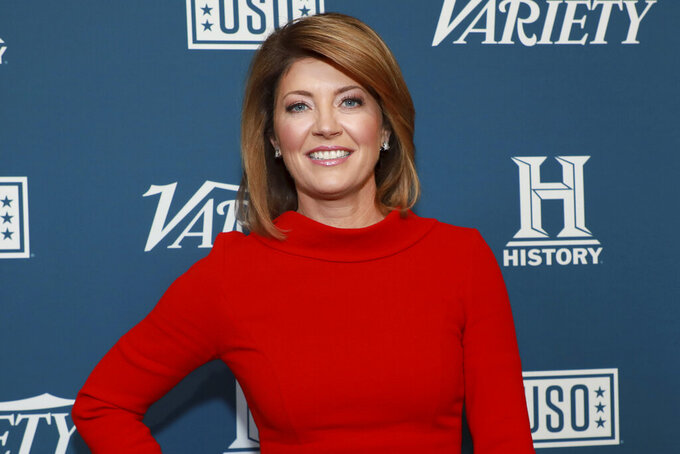 """FILE - Norah O'Donnell attends Variety's third annual """"Salute to Service"""" celebration on Nov. 6, 2019, in New York. The CBS Evening News anchor says she's """"never covered a year in my entire journalistic career like this last year."""" From the ongoing COVID global pandemic and George Floyd protests around the world to the contested 2020 presidential and last week's storming of the U.S. capitol by armed insurgents, O'Donnell concluded that """"journalism is more important than ever."""" (Photo by Jason Mendez/Invision/AP, File)"""