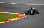 Mercedes driver Lewis Hamilton of Britain steers his car during the first practice session prior to the Formula One Grand Prix at the Spa-Francorchamps racetrack in Spa, Belgium Friday, Aug. 28, 2020. (John Thys, Pool via AP)