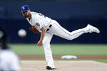 San Diego Padres starting pitcher Logan Allen works against a Milwaukee Brewers batter during the first inning of a baseball game Tuesday, June 18, 2019, in San Diego. (AP Photo/Gregory Bull)