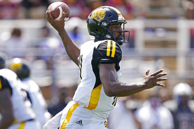 Arkansas-Pine Bluff quarterback Skyler Perry passes against Alabama A&M during the first half of the Southwestern Athletic Conference NCAA college football game, Saturday, May 1, 2021, in Jackson, Miss. (AP Photo/Rogelio V. Solis)