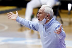 North Carolina coach Roy Williams reacts during the second half of the team's NCAA college basketball game against Duke in Chapel Hill, N.C., Saturday, March 6, 2021. (AP Photo/Gerry Broome)