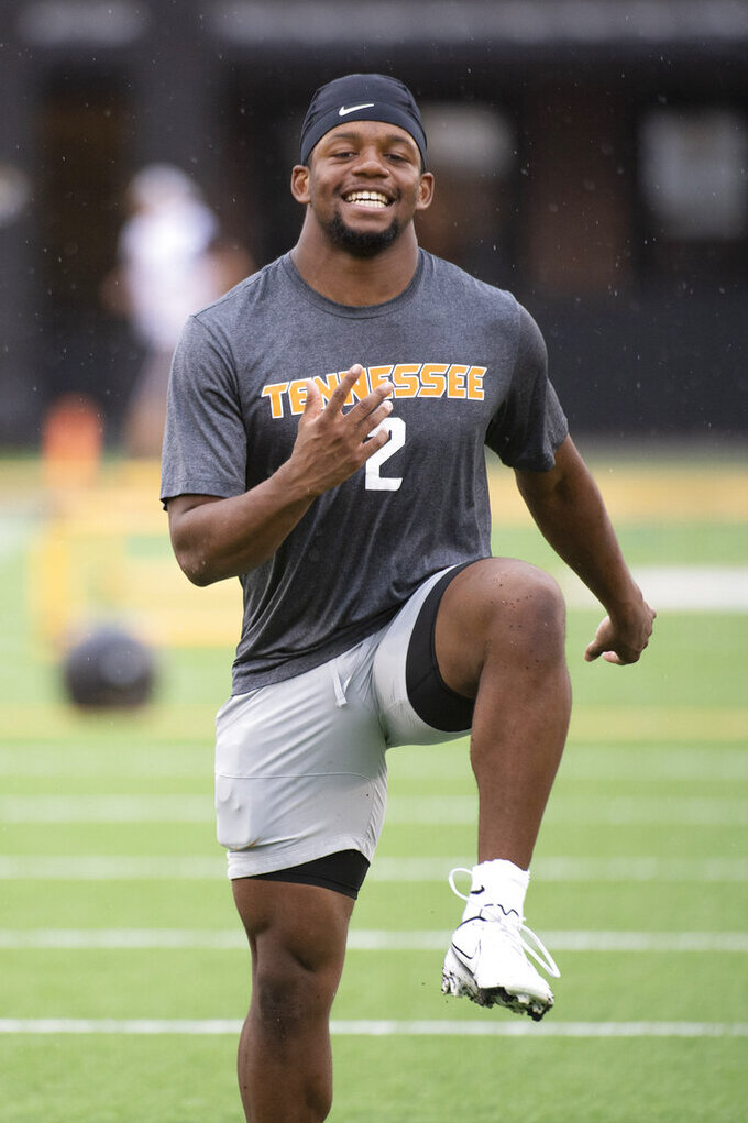 Tennessee running back Jabari Small warms up before the start of an NCAA college football game against Missouri Saturday, Oct. 2, 2021, in Columbia, Mo. (AP Photo/L.G. Patterson)