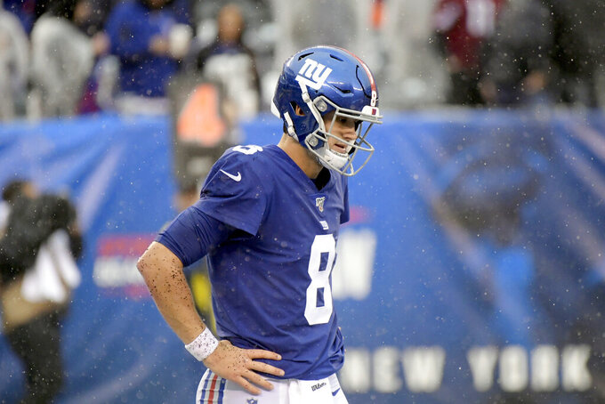 New York Giants quarterback Daniel Jones leaves the field during the second half of an NFL football game against the Arizona Cardinals, Sunday, Oct. 20, 2019, in East Rutherford, N.J. (AP Photo/Bill Kostroun)