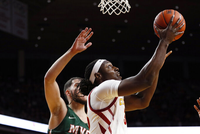 Iowa State forward Solomon Young drives to the basket past Mississippi Valley State forward Gebreal Samaha, left, during the first half of an NCAA college basketball game, Tuesday, Nov. 5, 2019, in Ames, Iowa. (AP Photo/Charlie Neibergall)
