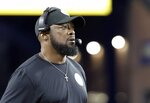 Pittsburgh Steelers head coach Mike Tomlin watches from the sideline in the first half an NFL football game against the New England Patriots, Sunday, Sept. 8, 2019, in Foxborough, Mass. (AP Photo/Steven Senne)