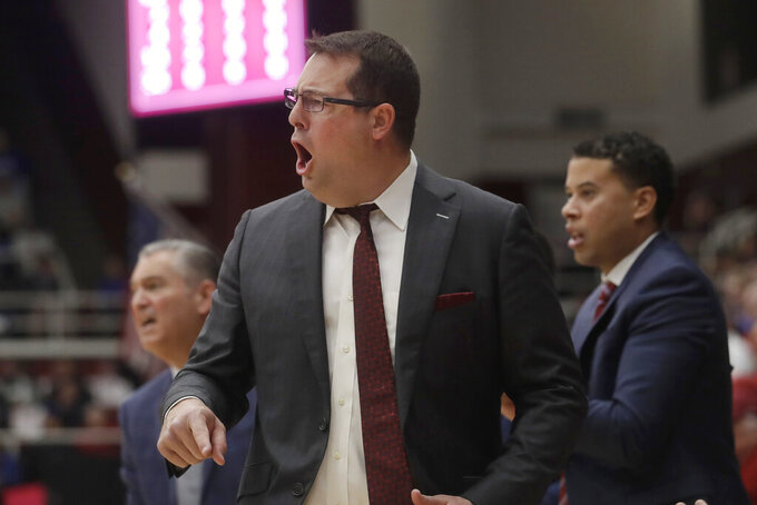 Stanford head coach Jerod Haase yells during the first half of an NCAA college basketball game against Kansas in Stanford, Calif., Sunday, Dec. 29, 2019. (AP Photo/Jeff Chiu)