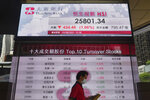 A man walks past a bank's electronic board showing the Hong Kong share index at Hong Kong Stock Exchange Tuesday, Aug. 3, 2021. Asian stock markets followed Wall Street lower on Tuesday as jitters about the coronavirus's delta variant dented enthusiasm about strong corporate profits. (AP Photo/Vincent Yu)