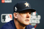 Houston Astros manager AJ Hinch speaks during a news conference for baseball's World Series Monday, Oct. 21, 2019, in Houston. The Houston Astros face the Washington Nationals in Game 1 on Tuesday. (AP Photo/Eric Gay)