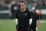 New York Jets head coach Robert Saleh reacts during the first half of an NFL preseason football game against the Philadelphia Eagles Friday, Aug. 27, 2021, in East Rutherford, N.J. (AP Photo/John Minchillo)