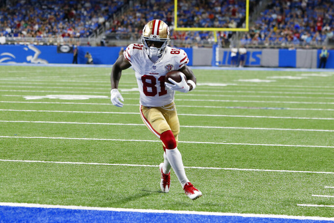 San Francisco 49ers wide receiver Trent Sherfield scores on a five yard touchdown reception against the Detroit Lions in the first half of an NFL football game in Detroit, Sunday, Sept. 12, 2021. (AP Photo/Duane Burleson)