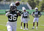 FILE - In this Aug. 6, 2018, file photo, New York Jets' Doug Middleton participates during practice at the NFL football team's training camp in Florham Park, N.J. Middleton was impressing the Jets with his playmaking skills last summer when a torn pectoral muscle in a preseason game knocked him out for the season. Nearly a year later, Middleton has a master's degree in public administration from Appalachian State on his resume.  (AP Photo/Seth Wenig, File)