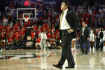 Georgia Tech coach Josh Pastner takes the court to speak with an official during a timeout in the team's NCAA college basketball game against Georgia on Wednesday, Nov. 20, 2019, in Athens, Ga. (Joshua L. Jones/Athens Banner-Herald via AP)