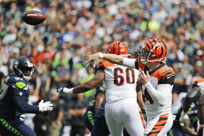 Cincinnati Bengals quarterback Andy Dalton passes against the Seattle Seahawks during the first half of an NFL football game, Sunday, Sept. 8, 2019, in Seattle. (AP Photo/John Froschauer)